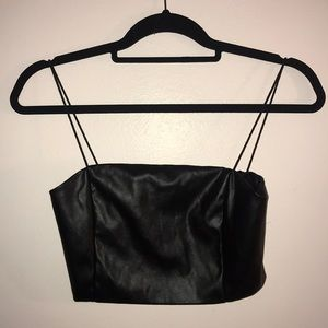 black leather crop/tank top. fits XS/S